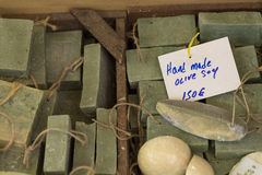 Traditional pure olive oil soap from greece.  Royalty Free Stock Photography