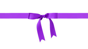 Traditional purple ribbon bow border. Isolated on white royalty free stock image