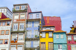 Traditional quaint houses in the old town and touristic ribeira district of Porto, Portugal.  Royalty Free Stock Image