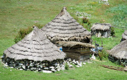 Traditional quechua houses in the mountains Royalty Free Stock Image
