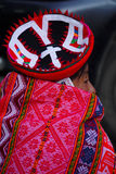 Traditional Quechua Woman. An example of the detailed and colorful clothing worn by the Quechua people in Peru Royalty Free Stock Photos
