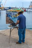 Traditional quickly picture panting competition in a small Spanish town Palamos in Costa Brava. 03. 06. 2018 Spain Stock Photos