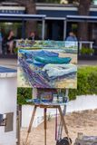 Traditional quickly picture panting competition in a small Spanish town Palamos in Costa Brava. 03. 06. 2018 Spain Stock Images
