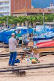 Traditional quickly picture panting competition in a small Spanish town Palamos in Costa Brava. 03. 06. 2018 Spain Royalty Free Stock Photo