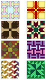 Traditional quilting patterns. Assortment of designs commonly used in quilt making Stock Images