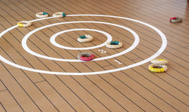 Traditional quoits on ship deck. Stock Photos