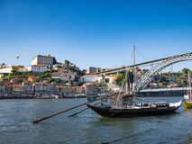 Traditional Rabelo Boats on River Douro, Porto, Portugal stock images