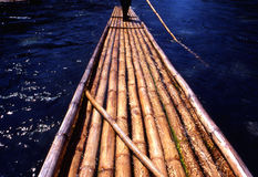 Traditional raft. A long traditional bamboo raft used in Jamaica stock photography