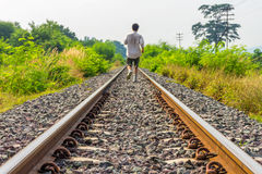 Traditional railway track or permanent way structure system Royalty Free Stock Images