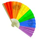 Traditional, a rainbow Folding Fans. Stock Images