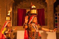 Traditional Rajasthan Dance. Traditional Rajasthan folk dance night show at Bagore-ki-haveli, Udaipur Royalty Free Stock Photos