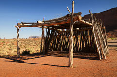 Traditional Ramada or Summer dwelling in Monument Valley Stock Image
