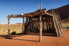Traditional Ramada or Summer dwelling in Monument Valley Stock Photos