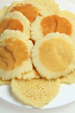 Traditional Ramadan pancakes. Traditional Arab qatayef pancakes, made as a treat only during the Muslim holy month of Ramadan. The pancakes, sold flat, are stock image
