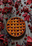 Traditional raspberry pie tart cake sweet baked pastry food on rustic table background. Autumn composition decoration. Royalty Free Stock Photo