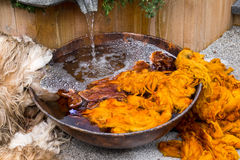 Traditional raw dyeing of natural wool Stock Photography
