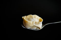 Traditional Raw Manti With Meat Inside Stock Image