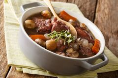 Traditional recipe of French cuisine Coq au vin close-up in a po Royalty Free Stock Images