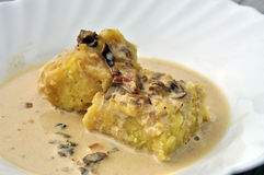 Traditional recipe: potato and mushroom polenta Royalty Free Stock Image