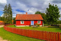 Traditional red cottage house in Sweden Stock Photo