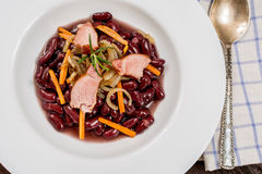 Traditional red beans. With meat and vegetables Royalty Free Stock Photo