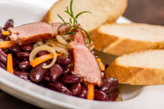 Traditional red beans. With meat and vegetables Stock Photos