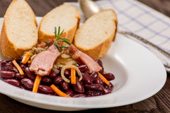 Traditional red beans. With meat and vegetables Royalty Free Stock Photography