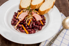 Traditional red beans. With meat and vegetables Stock Image