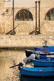 Traditional fishing boats in Monopoli port, Apulia, Bari province, Italy. Traditional red and blue fishing boats in Monopoli port near Castle of Carlo V, Apulia stock image