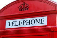 Traditional red british telephone box Stock Photo