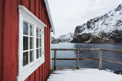 Traditional red cabins of Norway Royalty Free Stock Photography