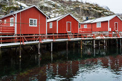 Traditional red cabins of Norway Stock Photo