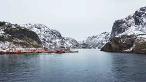 Traditional red cabins of Norway Stock Images
