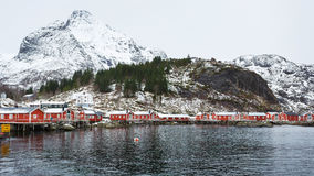 Traditional red cabins of Norway Stock Photos