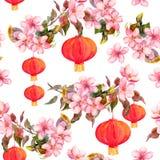 Traditional red chinese lantern in spring pink flowers - apple, plum, cherry, sakura. Seamless pattern. Watercolor Royalty Free Stock Photos
