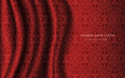 Traditional Red Chinese Silk Satin Fabric Cloth Background check Stock Photography