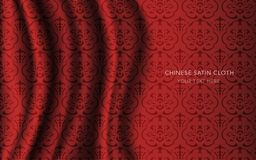 Traditional Red Chinese Silk Satin Fabric Cloth Background curve Royalty Free Stock Photography
