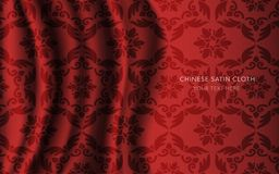 Traditional Red Chinese Silk Satin Fabric Cloth Background feath. Er polygon spiral cross flower Royalty Free Stock Image