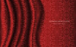 Traditional Red Chinese Silk Satin Fabric Cloth Background round Royalty Free Stock Photography