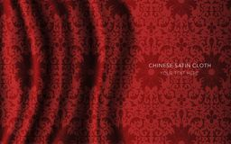 Traditional Red Chinese Silk Satin Fabric Cloth Background spira Stock Photo