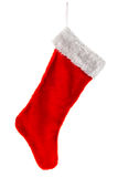 Traditional red Christmas Stocking. Traditional fur red Christmas stocking. Isolated on white Stock Photos