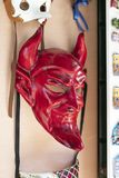 Traditional red devil mask for carnival in Italy and Europe stock image