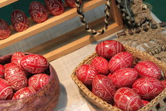 Easter eggs. Traditional red eggs painted handmade for Easter stock photography