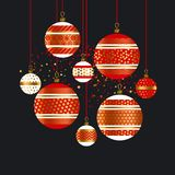 Traditional red and gold xmas baubles. Christmas decor element on black backdrop for header, card, invitation, poster, cover and other web and print design stock illustration