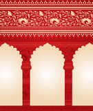 Traditional red Indian floral temple background Stock Image