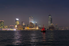 Traditional red junk boat in the Victoria Harbor in Hong Kong at. Night - 1 stock photos