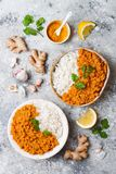 Traditional red lentil Dal. Indian Dhal spicy curry in bowl with flat bread and spices. Top view, overhead. Stock Photos