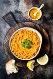 Traditional red lentil Dal. Indian Dhal spicy curry in bowl with flat bread and spices. Top view, overhead. Traditional red lentil Dal. Indian Dhal spicy curry Stock Image