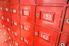 The traditional red lockers Royalty Free Stock Photos