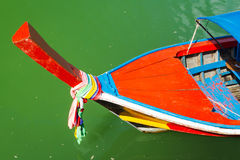 Traditional red long tail boat in Thailand Stock Photo